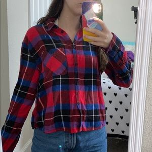 plaid flannel cropped tee